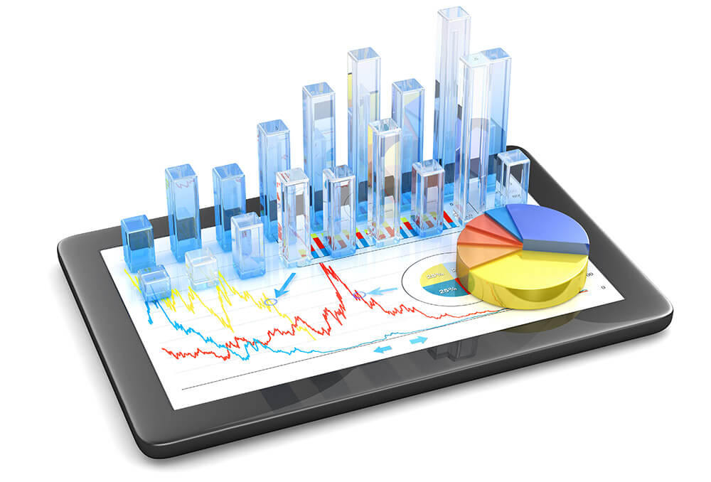 Financial data shown in 3d on a tablet